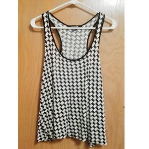 Forever 21 Cropped Houndstooth Racer-back Tank Top